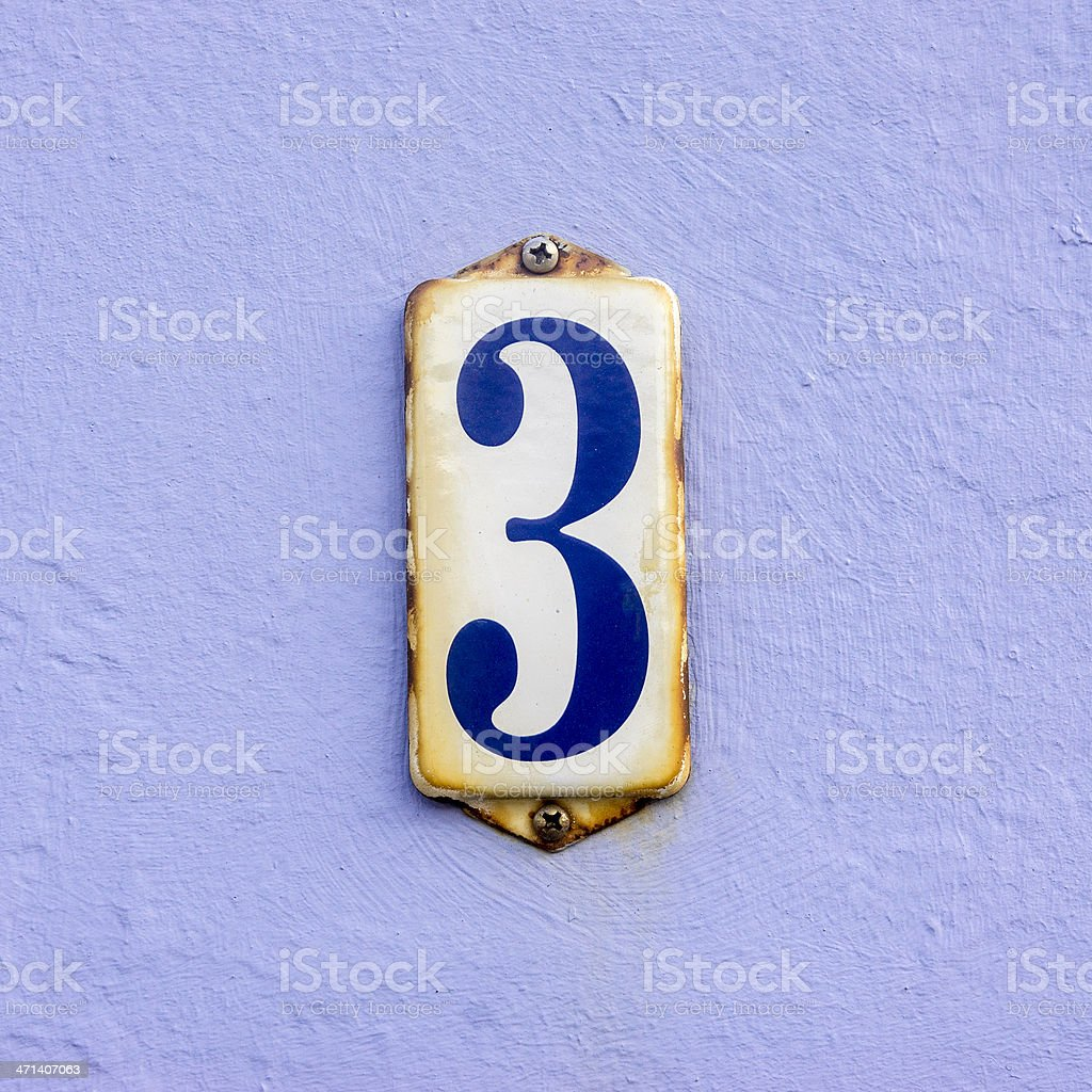 House number 3 royalty-free stock photo