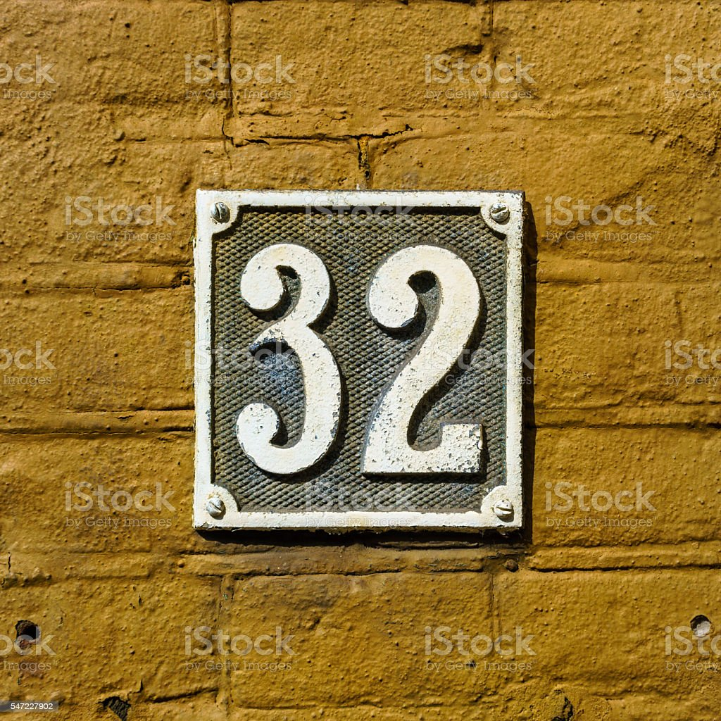 House number 32 stock photo