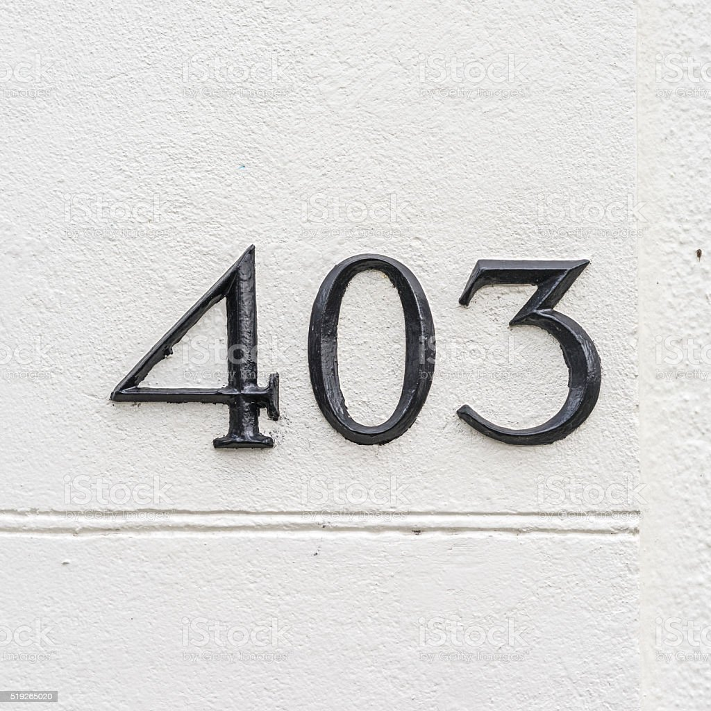 House number 403 stock photo