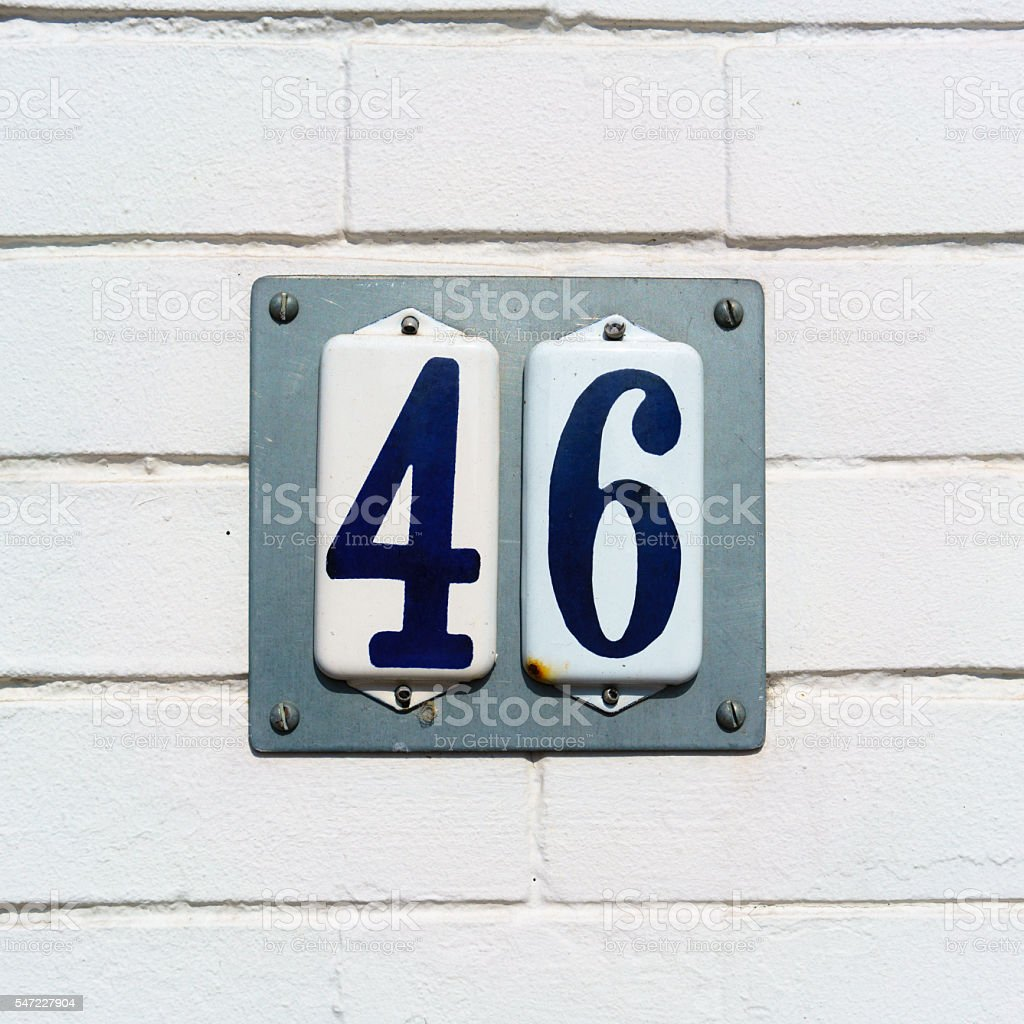 House number 46 stock photo