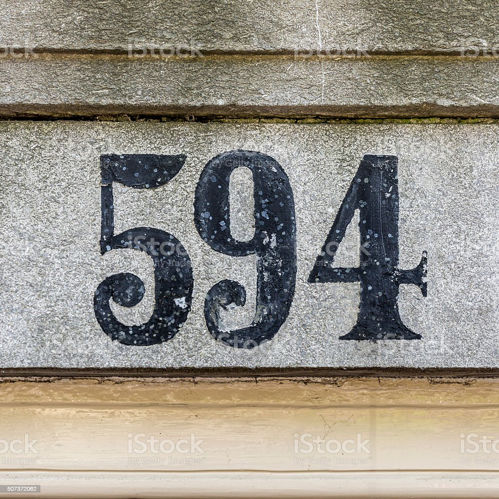 House number 594 stock photo