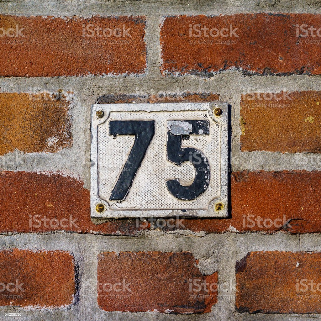 House number 75 stock photo