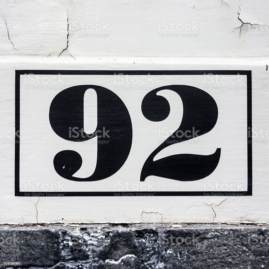 House number 92 stock photo