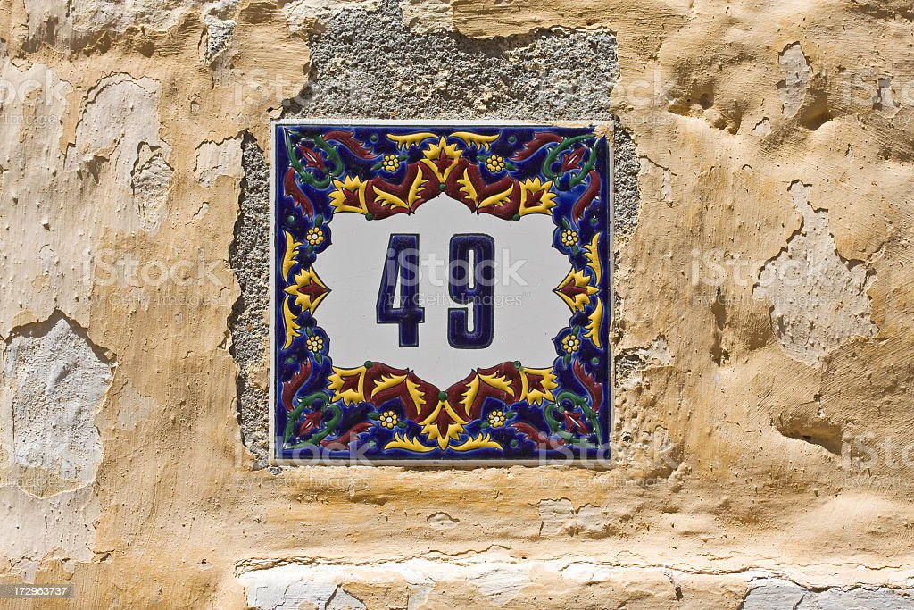 House number fourty nine on old greek recidence. stock photo