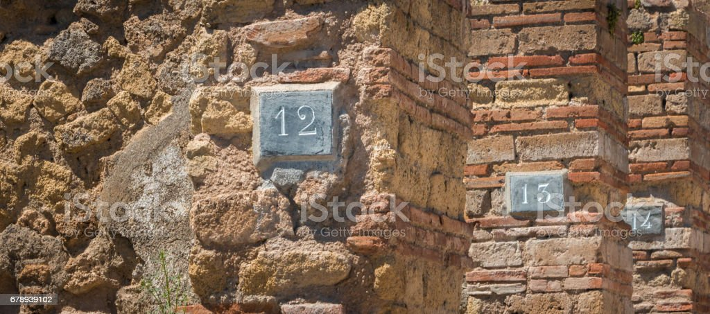 House numbers in pompeii stock photo
