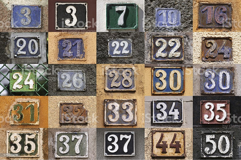 House numbers on a wall royalty-free stock photo