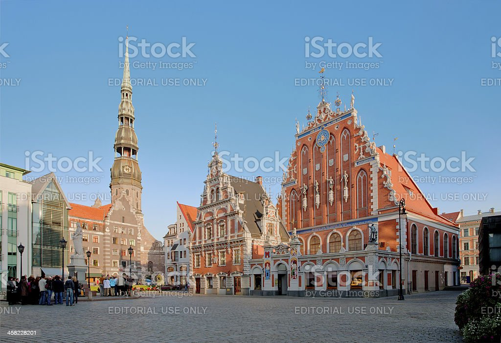 House of Blackheads at old town square in Riga, Latvia stock photo