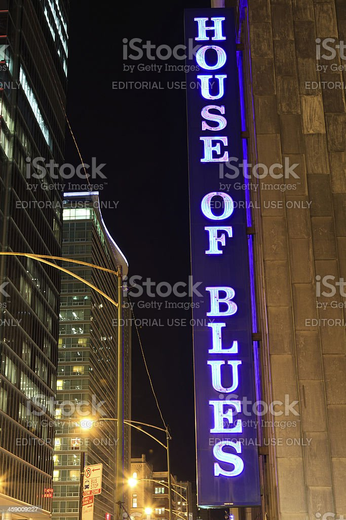 House of Blues Sign in Chicago stock photo