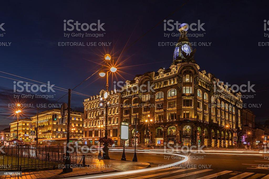 House of Books (Singer House) on Nevsky Prospect stock photo