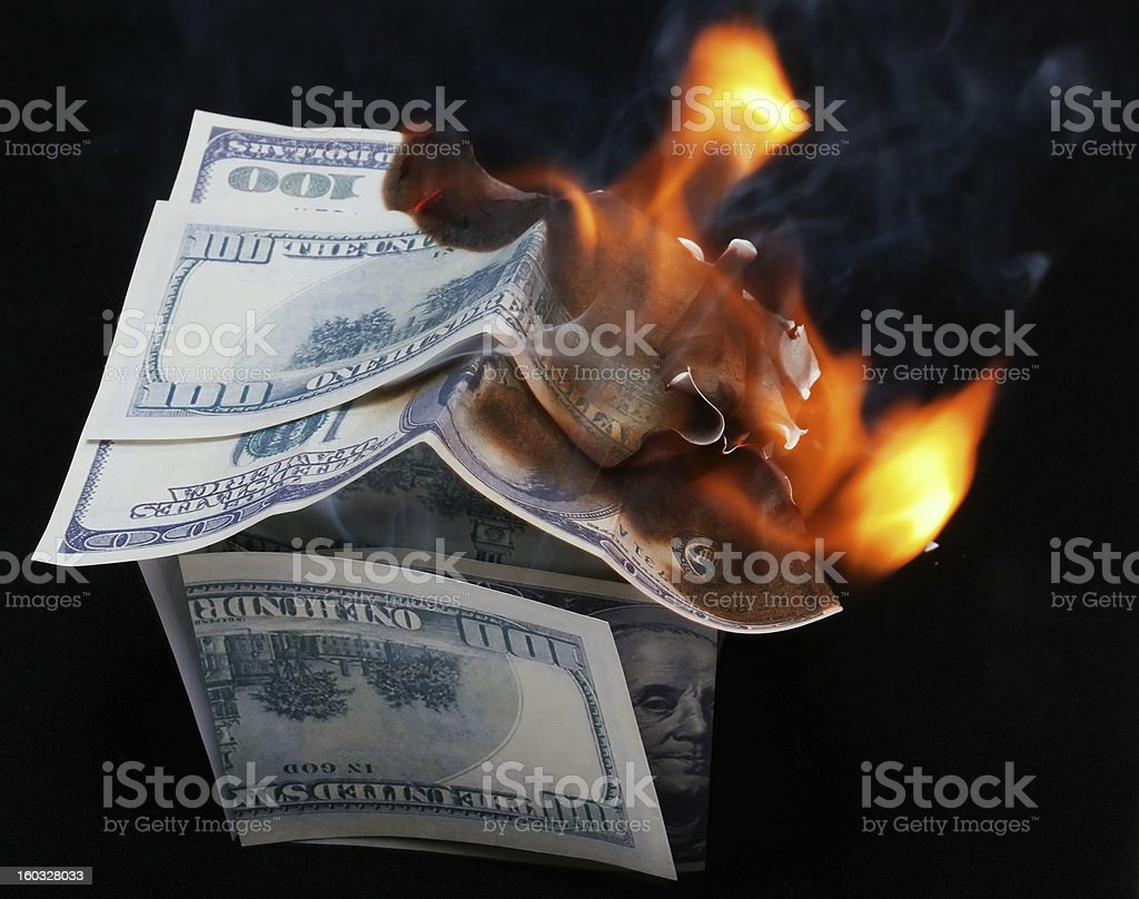 House of Dollar. fire royalty-free stock photo