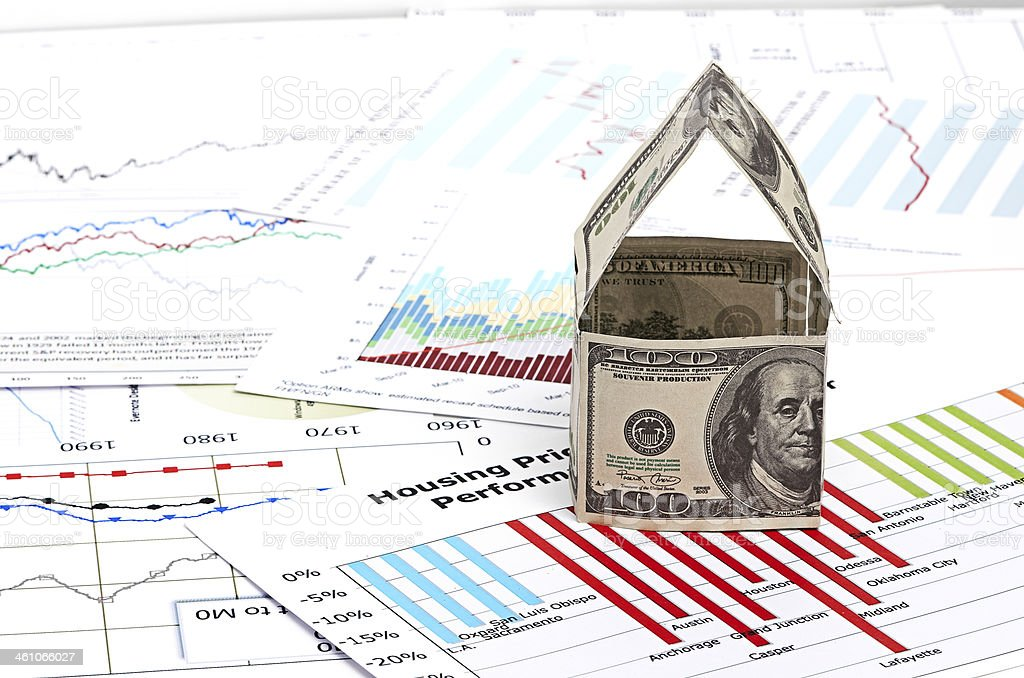 House of dollars. on chart background stock photo