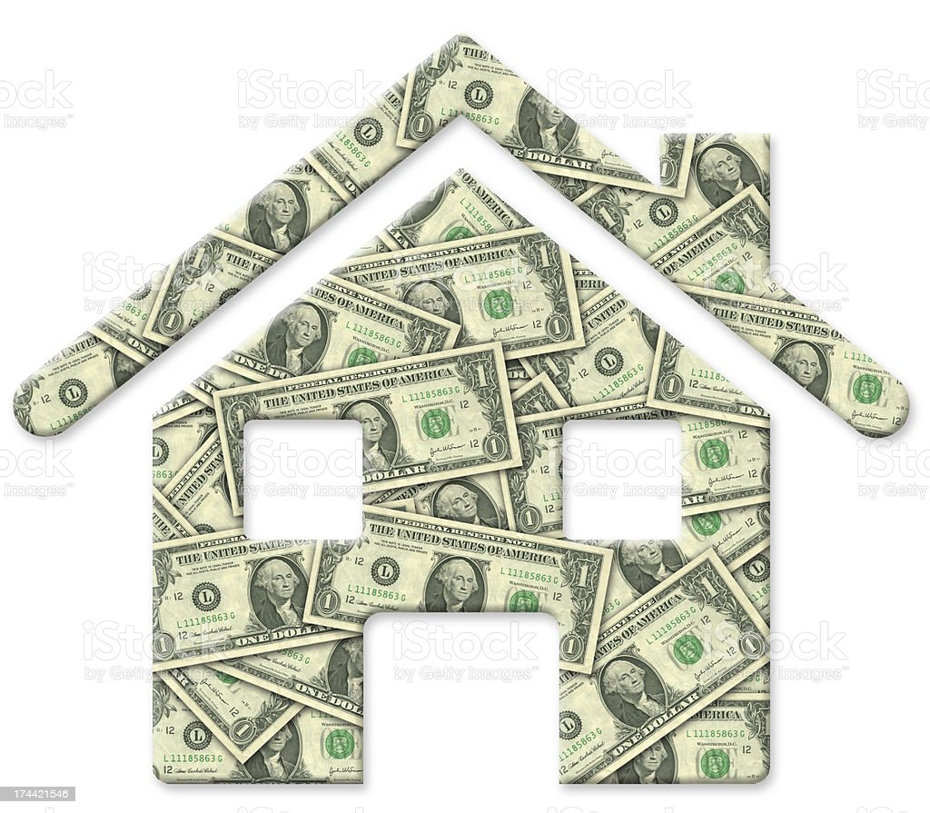 House of dollars on white background royalty-free stock photo