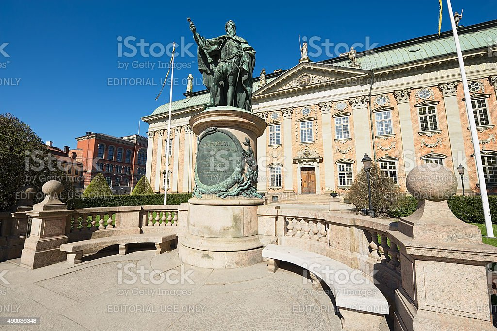 House of Nobility and statue of Gustaf Vasa, Stockholm, Sweden. stock photo