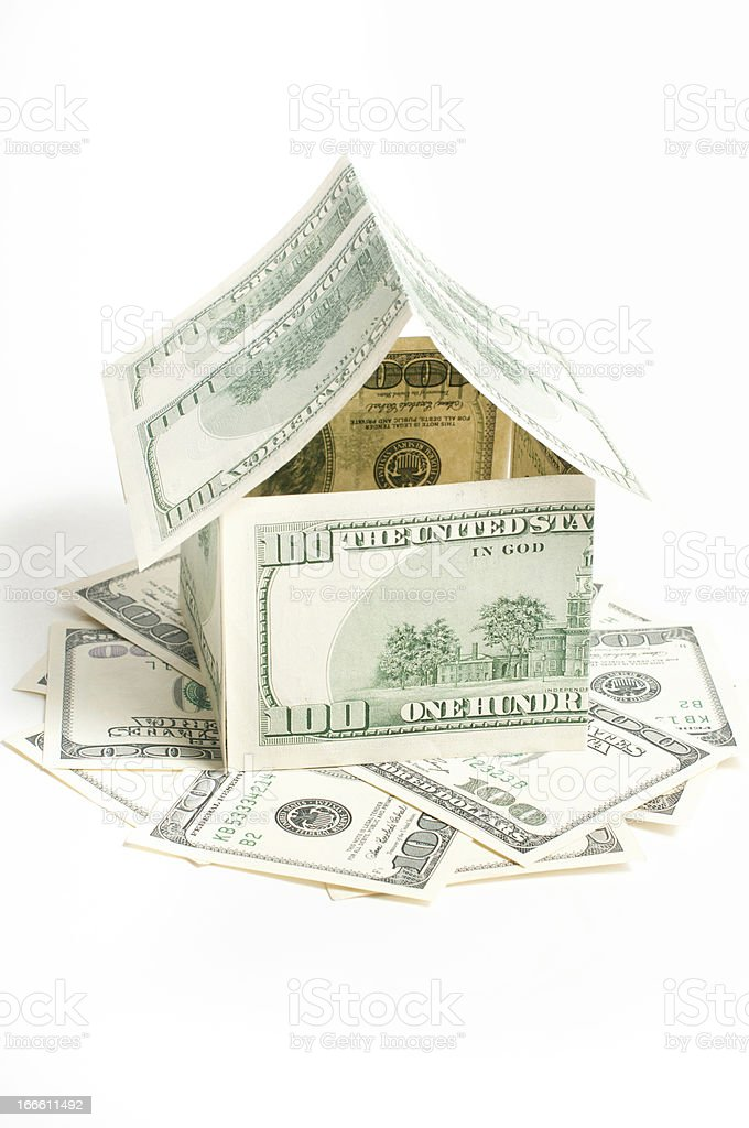 House of one hundred dollar bills royalty-free stock photo