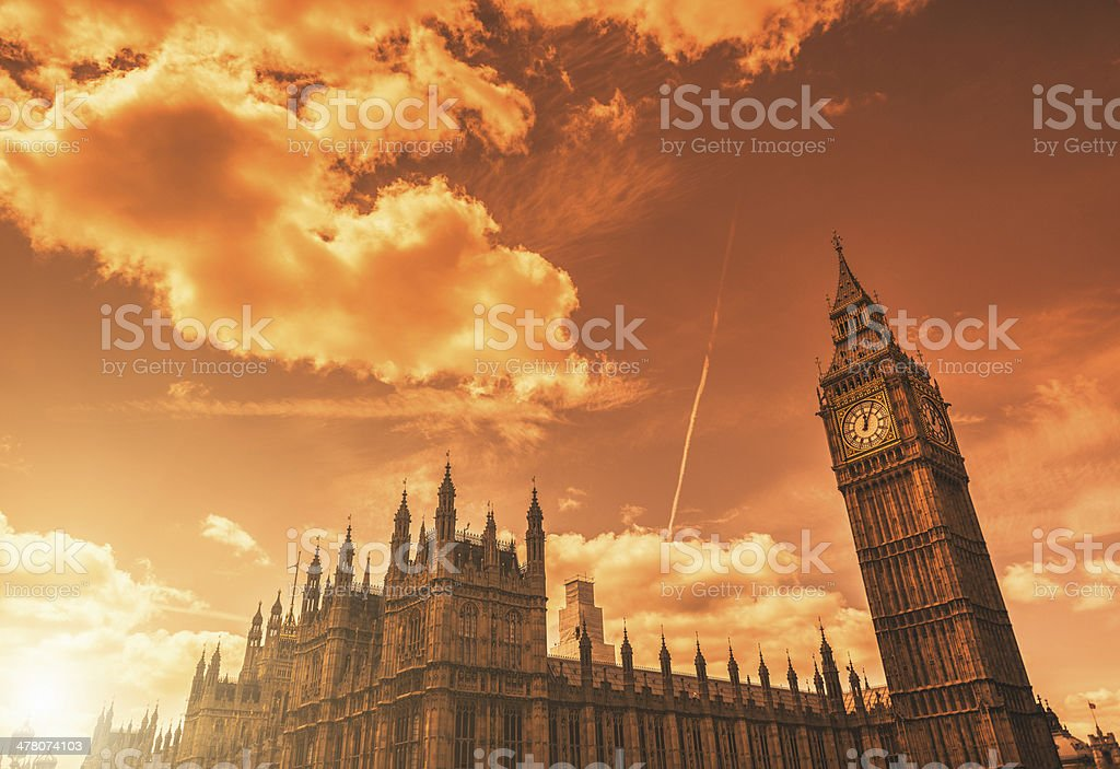 House of parliament and big ben at sunset royalty-free stock photo