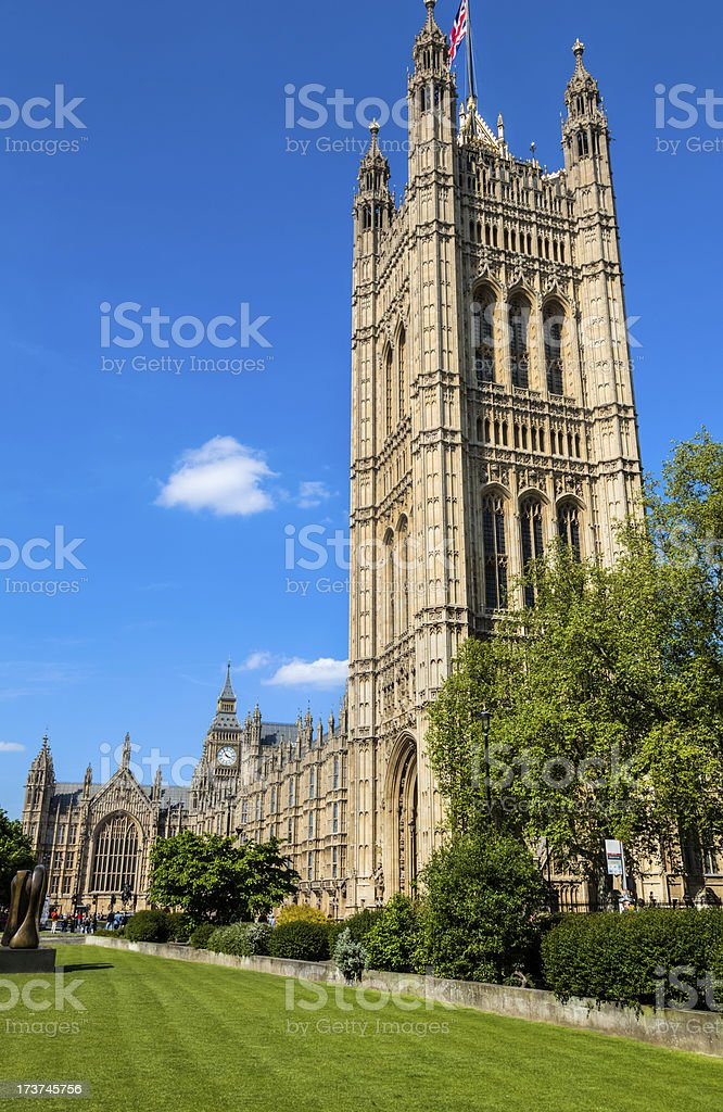 House of Parliament and Big Ben Tower Under Beautiful Sky royalty-free stock photo
