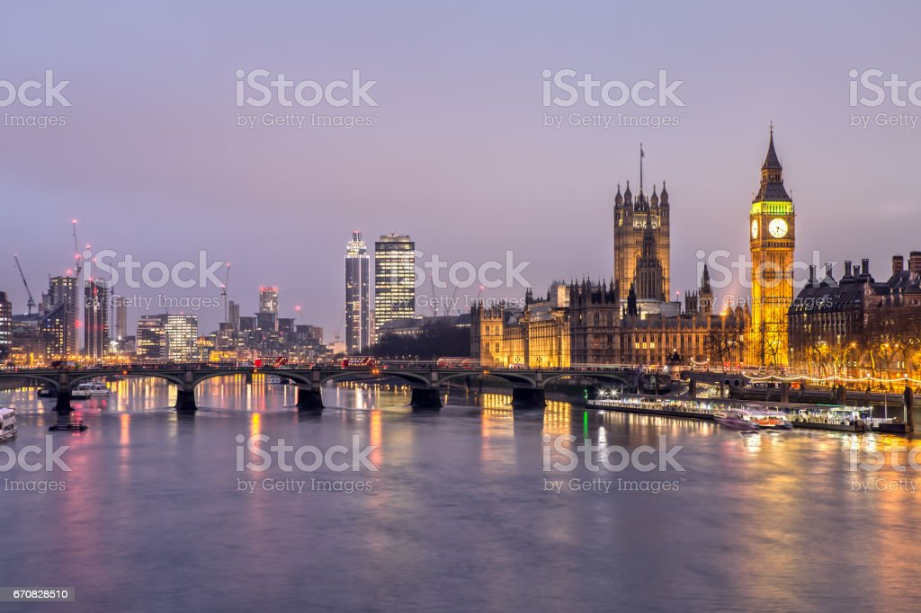 House of Parliament and Westminster Bridge at Night stock photo