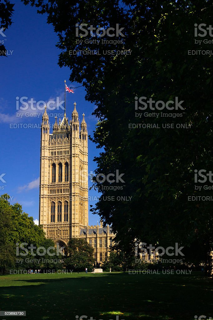 House of Parliament viewed from the Victoria Tower Gardens stock photo