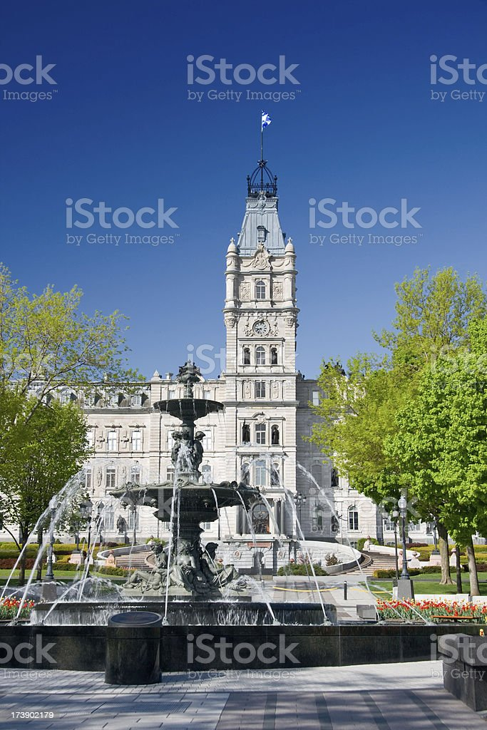House of Parliament with fountain, Quebec City, Canada royalty-free stock photo