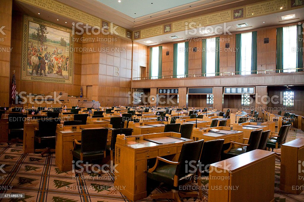 House of Representatives Chamber Oregon State Capitol stock photo
