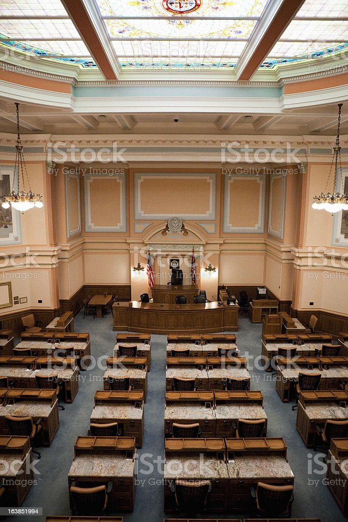 House of Representatives Chamber Wyoming State Capitol stock photo