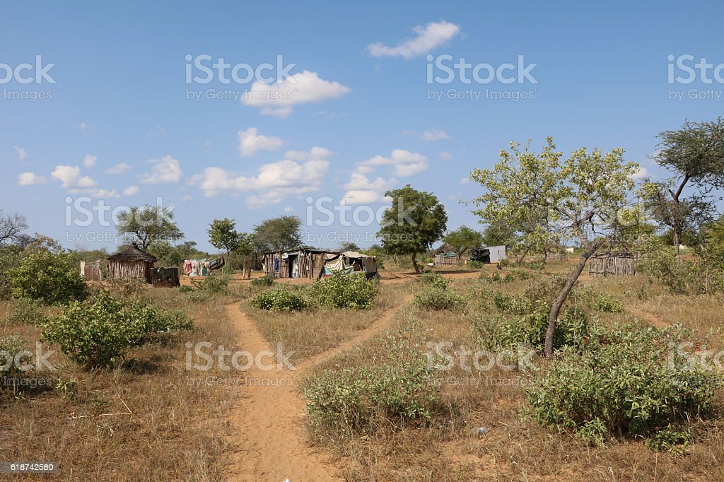 House of San busch men in Namibia, Africa stock photo