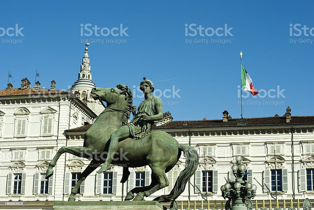 House of Savoy in Turin (Pollux Statue) stock photo
