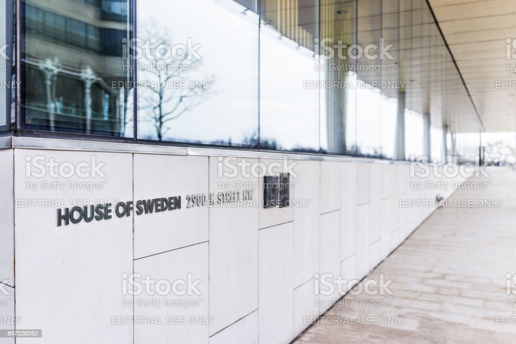 House of Sweden sign with embassy on building exterior stock photo