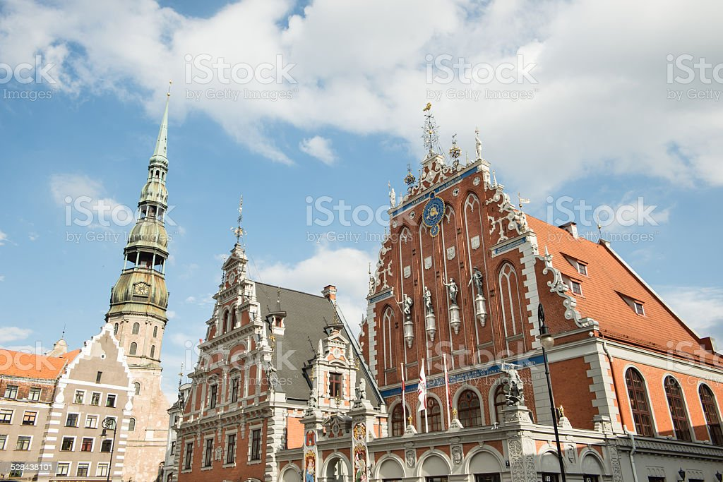 House of the Blackheads and St. Peter's Church stock photo