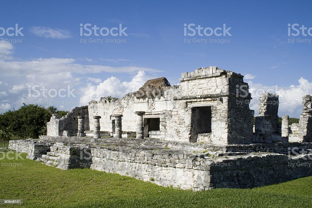 House of the Columns - ancient Mayan structure Tulum Mexico stock photo