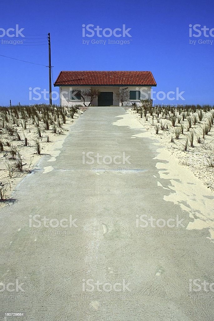House on a dune stock photo