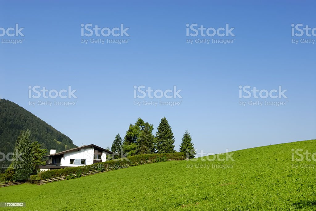 House on a hill stock photo