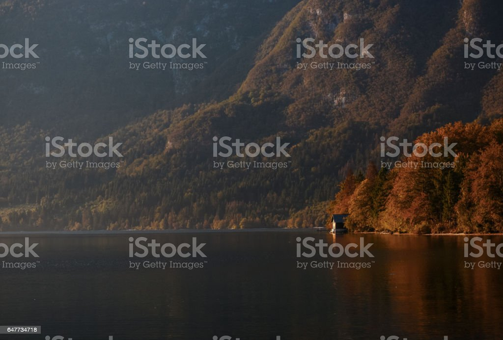 House on a lake stock photo