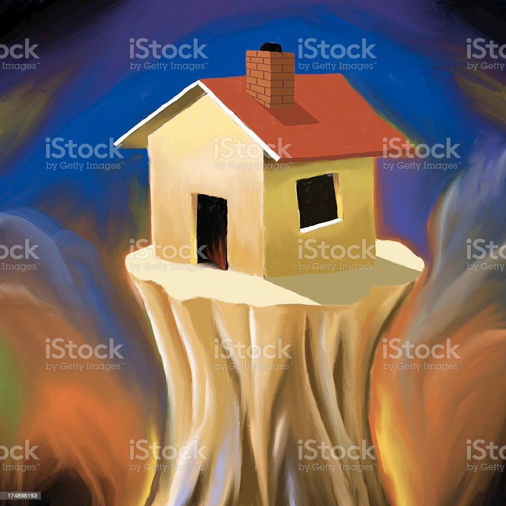 House on a ledge stock photo