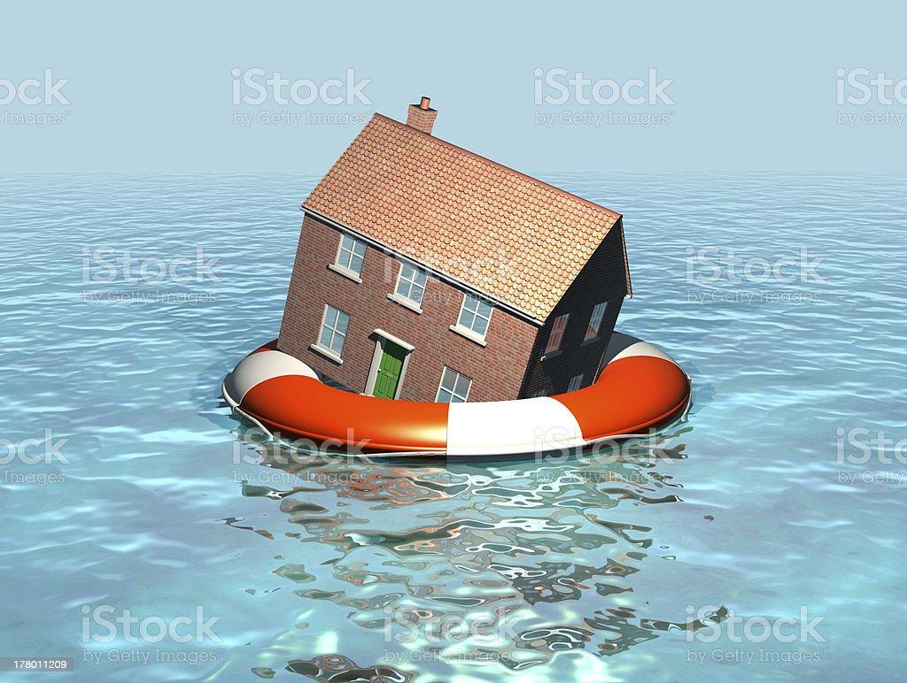 House on a lifebelt, rising sea levels, global warming stock photo