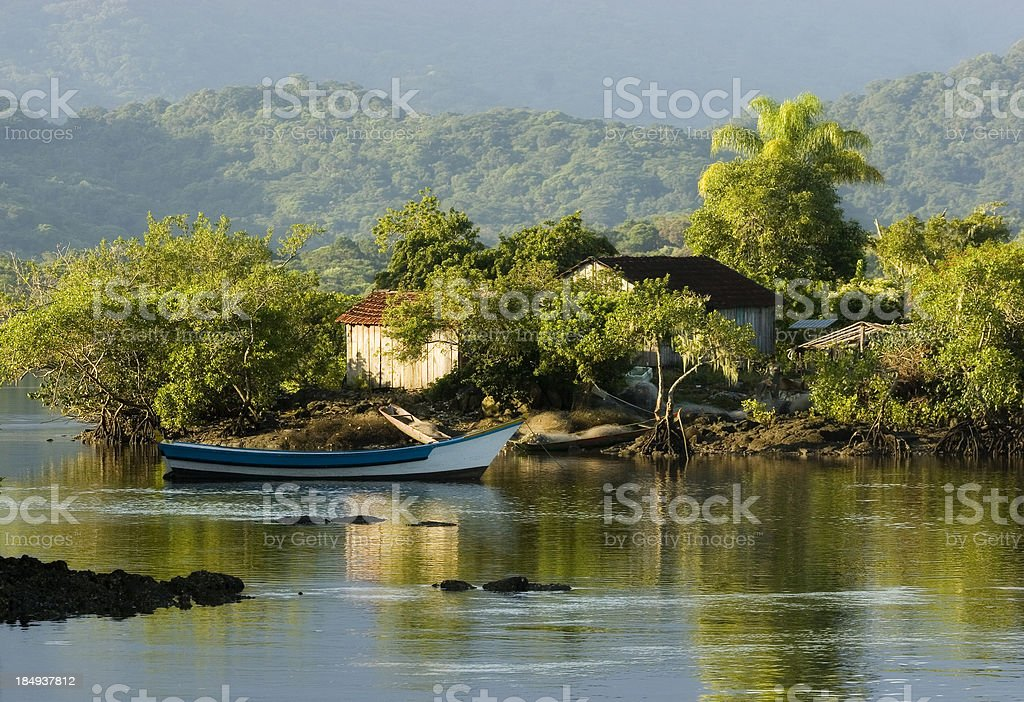 House on a Remote Tropical Island stock photo