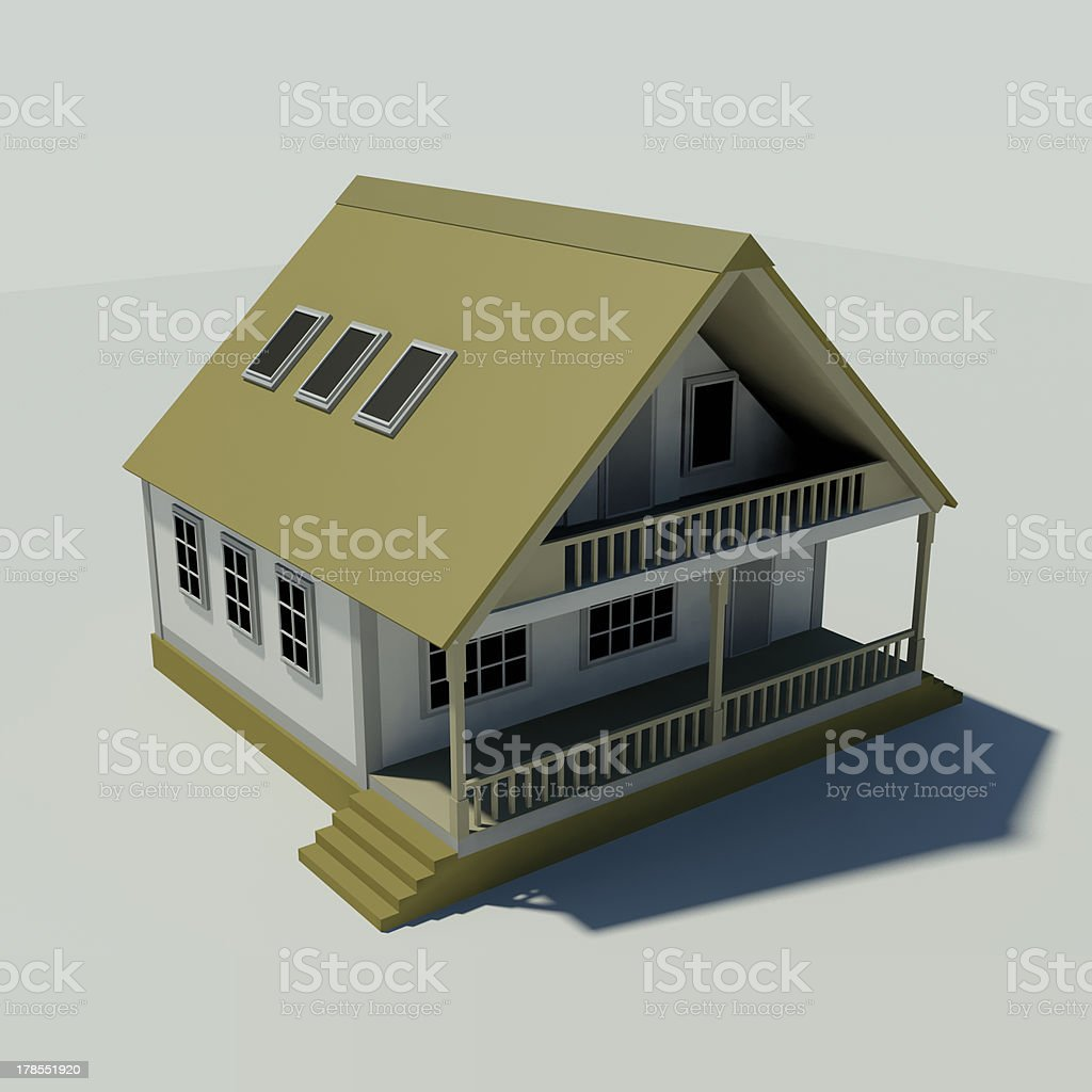 House on a white background. Created in 3D. royalty-free stock photo