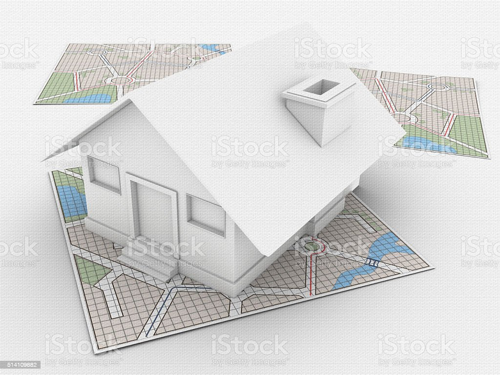 House on City Map stock photo