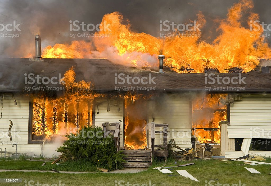 House on Fire royalty-free stock photo