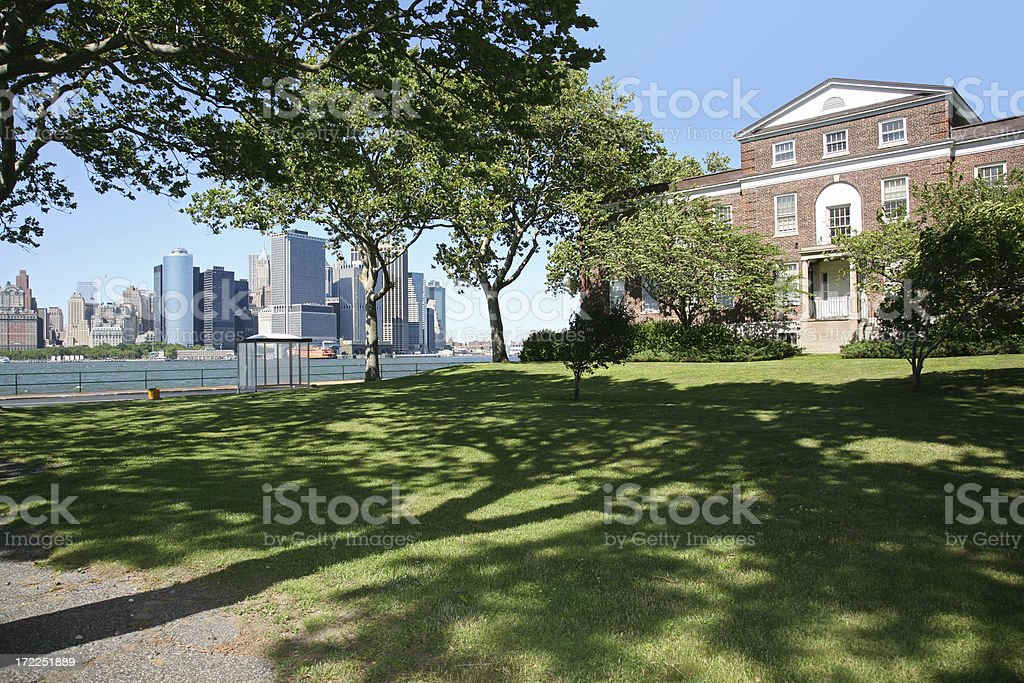 House On Governors Island Overlooking New York Harbor stock photo