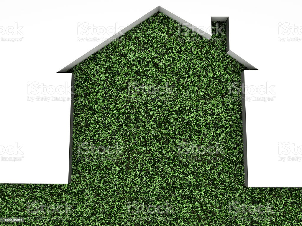 house on green grass stock photo
