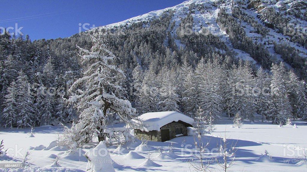 House on Morteratsch Glacier royalty-free stock photo