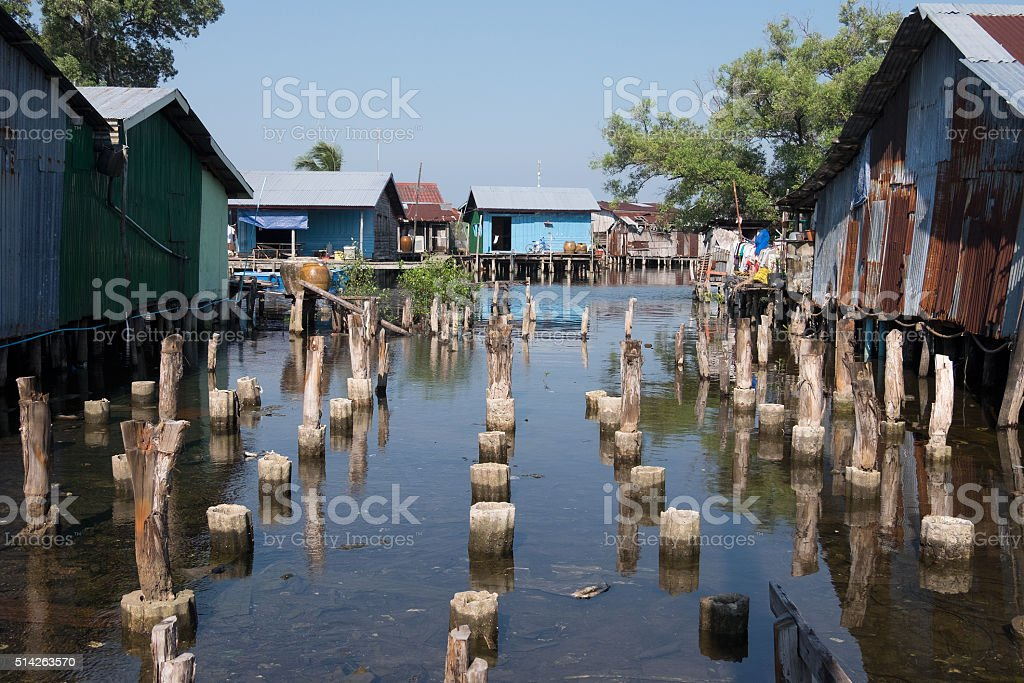 House on stilts stock photo