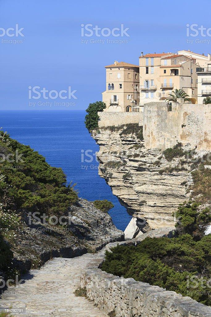 House on the cliffs, Bonifacio, Corsica stock photo