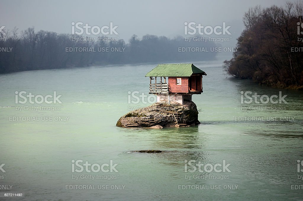 House on the river Drina stock photo