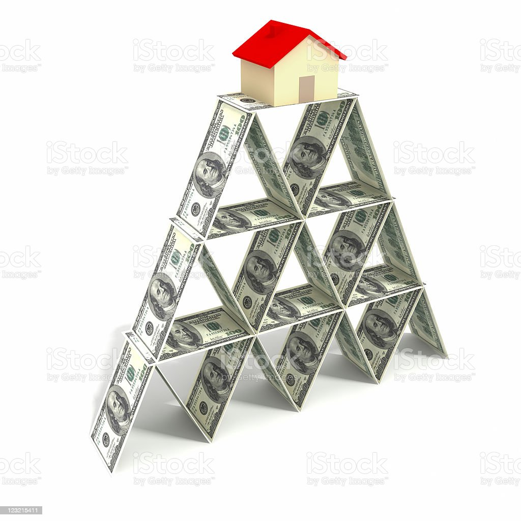 House on the tower of dollars. royalty-free stock photo