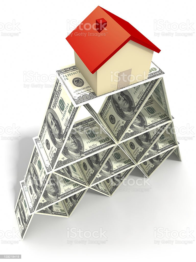 House on the tower of dollars. stock photo