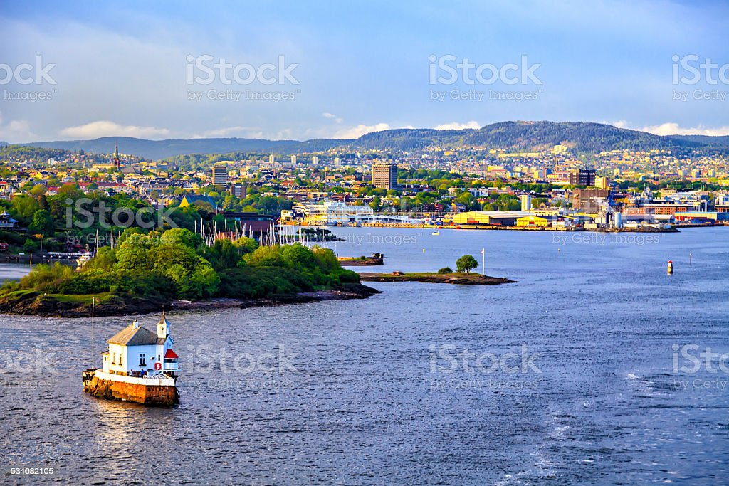 House on the water and Oslo, capital of Norway stock photo