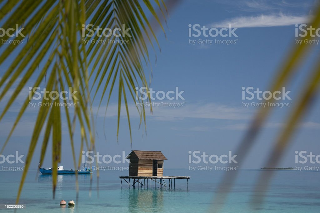 House on the water, Maldives. stock photo