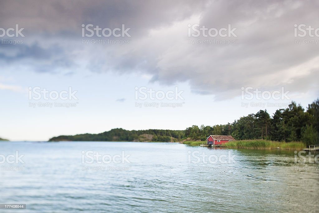 House over the lake royalty-free stock photo